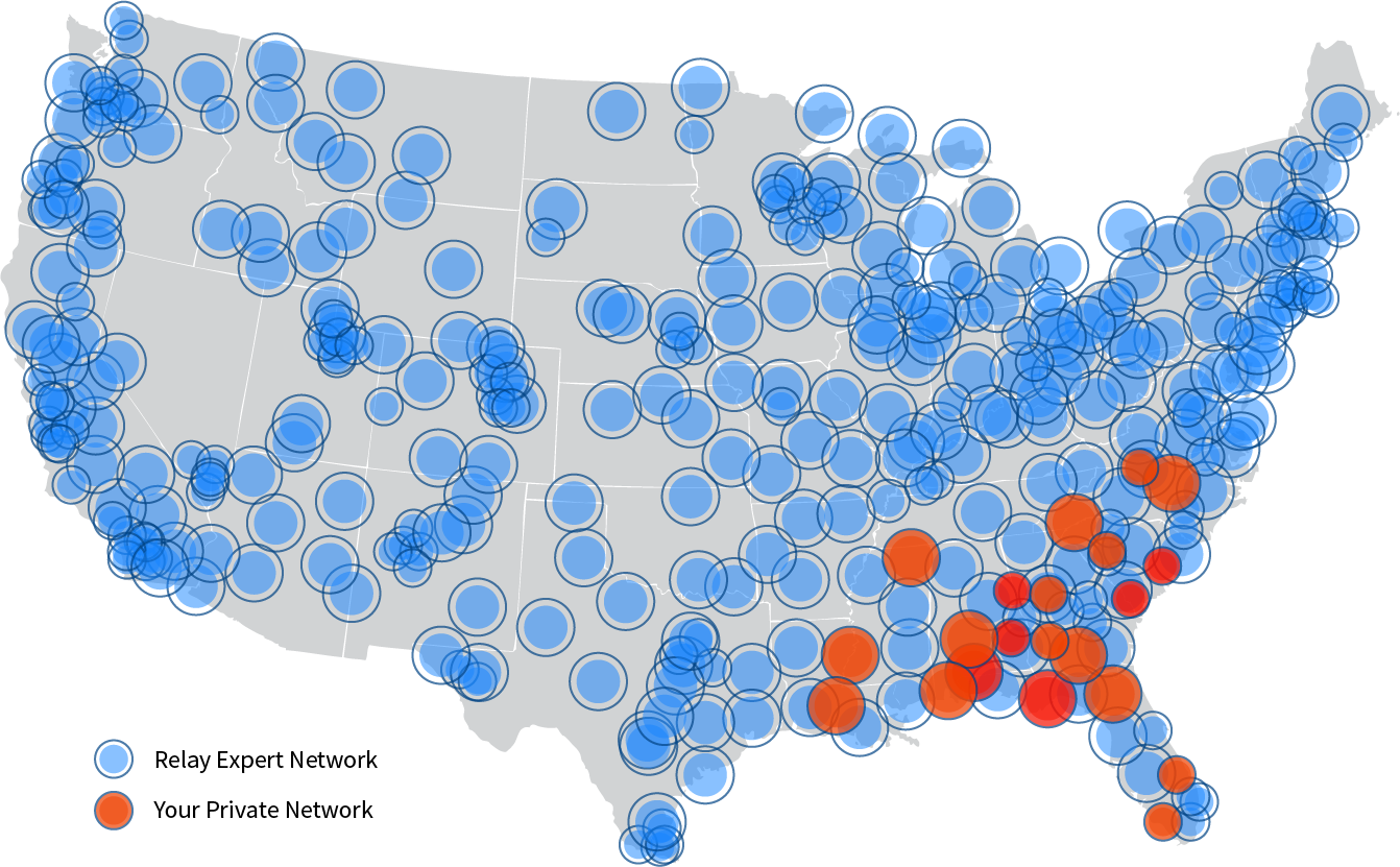 Relay Dispatch Expert Network Coverage Map
