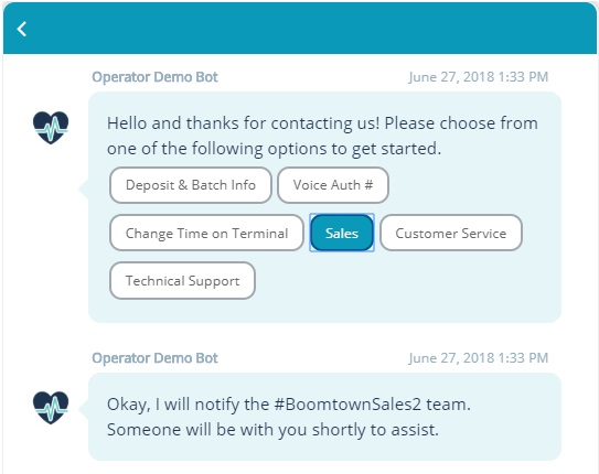 The Relay Chatbots routing an issue to the Boomtown Sales team for instant support.