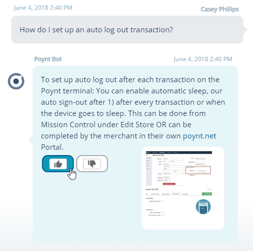 Chatbot Analytics Rating Buttons on the Relay Chatbots.